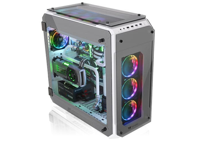 Thermaltake View 71 Tempered Glass Snow Edition Full-Tower Chassis.