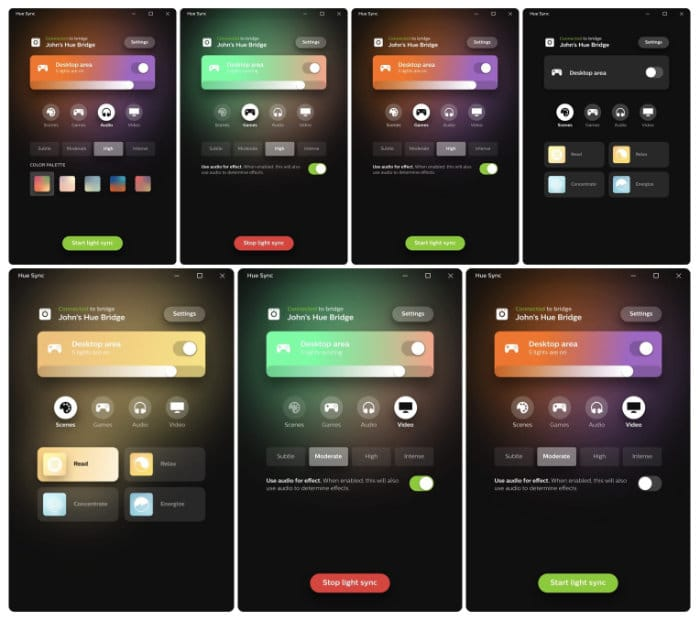 screenshots Philips Hue Sync