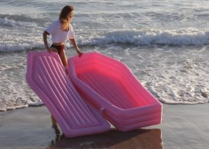 Pom Pom Inflatable Pink Coffin