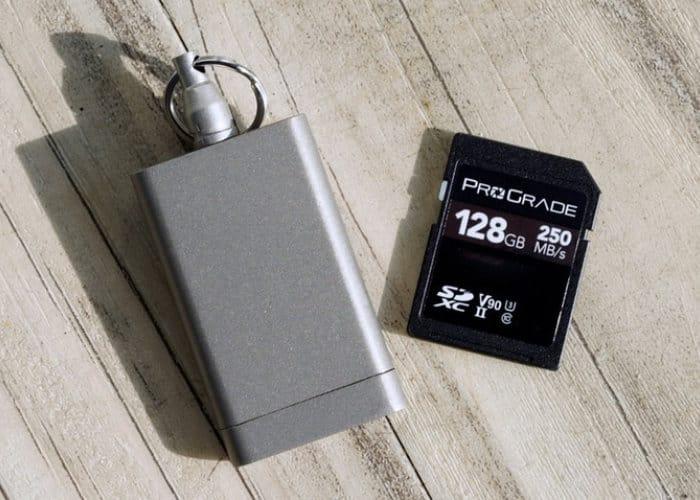 Compact Titanium Keychain SD Memory Card Case