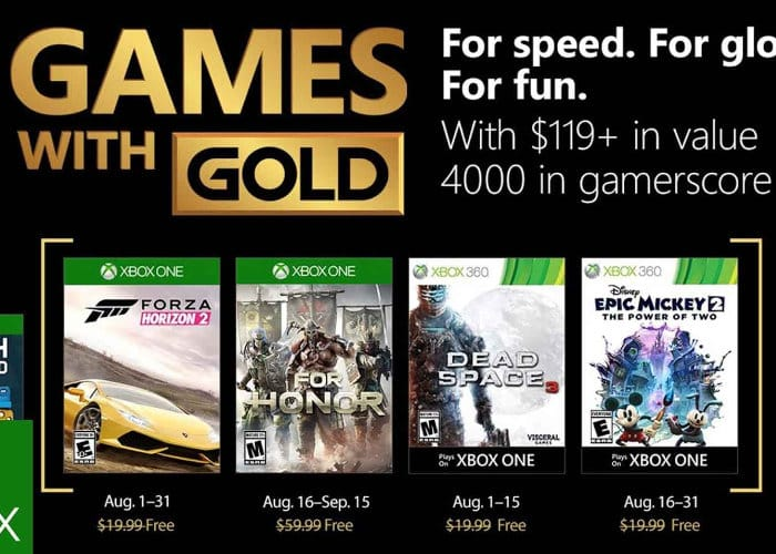 Free Xbox Games With Gold August 2018