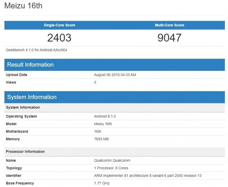 Meizu 16 Awesome Benchmarks Revealed With Snapdragon 845 And 8GB RAM