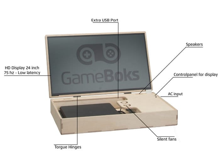 GameBoks portable gaming console case with screen