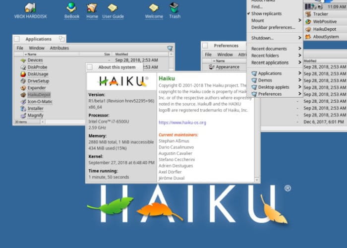 HAIKU open source operating system