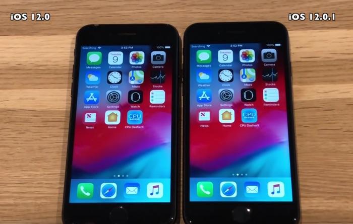 iOS 12 vs iOS 12.0.1