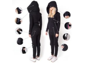 Inflatable one piece jumpsuit designed for travelling and comfort