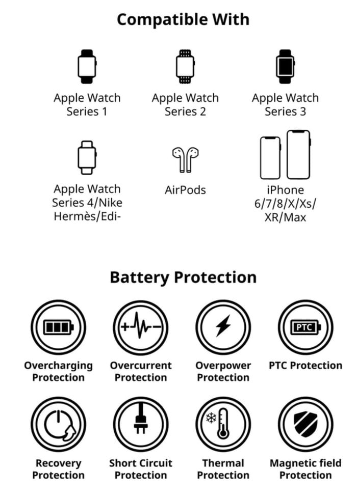 EIRTOUCH Apple AirPods and Apple Watch wireless power bank