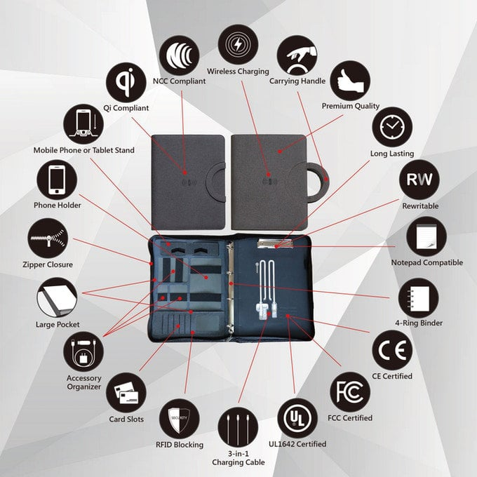 imSTONE wireless charging padfolio