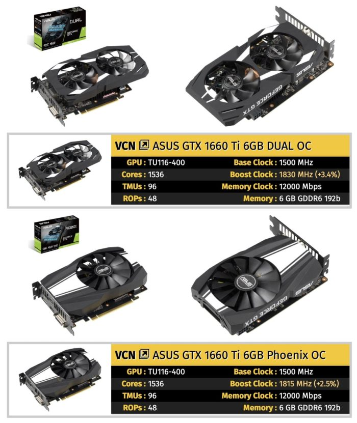 ASUS GeForce GTX 1660 Ti Series graphics cards
