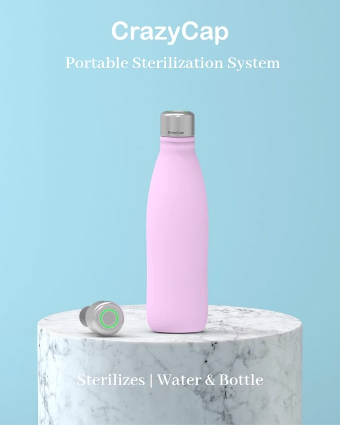 CrazyCap is a portable water sterilization system