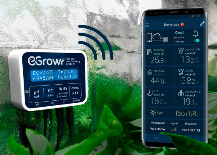 EGROW connected hydroponic growing remote monitoring system