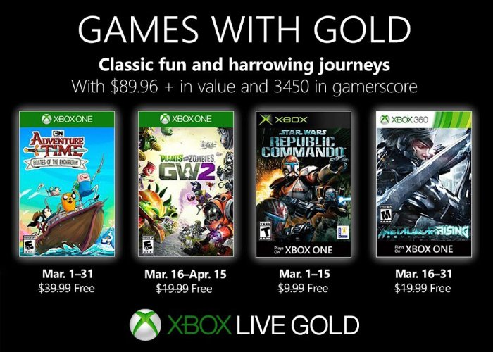 Free Xbox Live Games with Gold March 2019