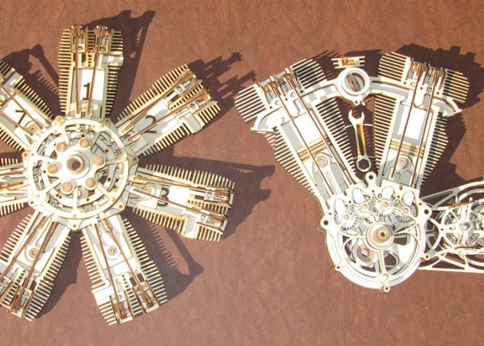 Intricate laser cut engine kits