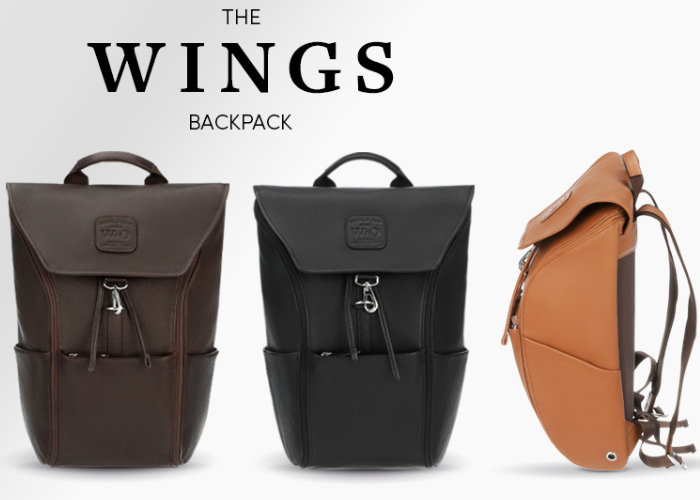 Wings leather everyday backpack