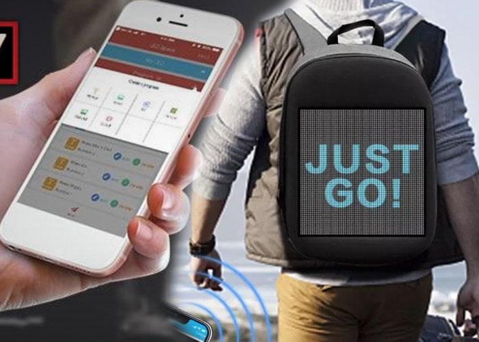 smartphone controlled pixel screen backpack