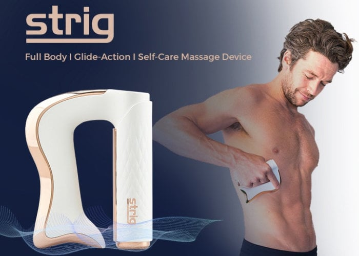STRIG body massager uses microcurrents and vibrations