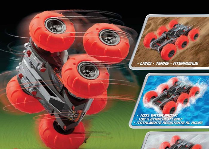Six wheel tumbling amphibious RC car