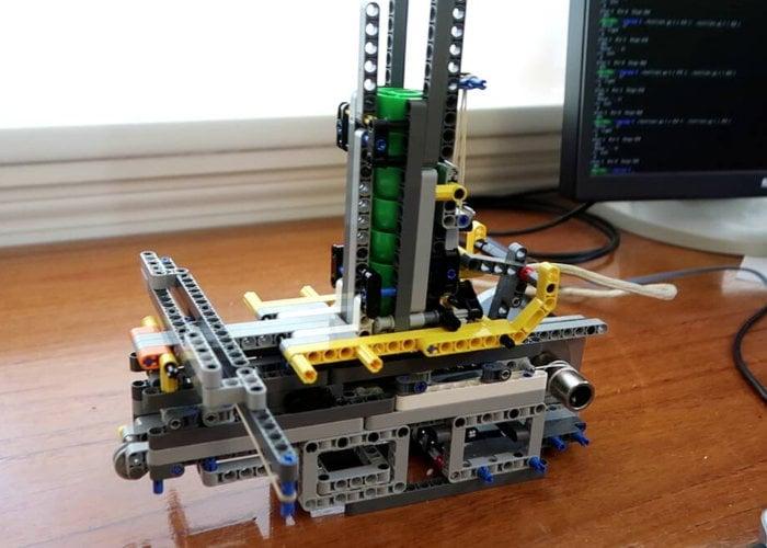 LEGO plastic cap firing Raspberry Pi robot turret