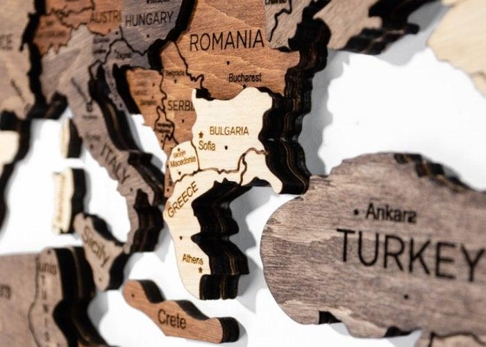 Laser cut wooden world map