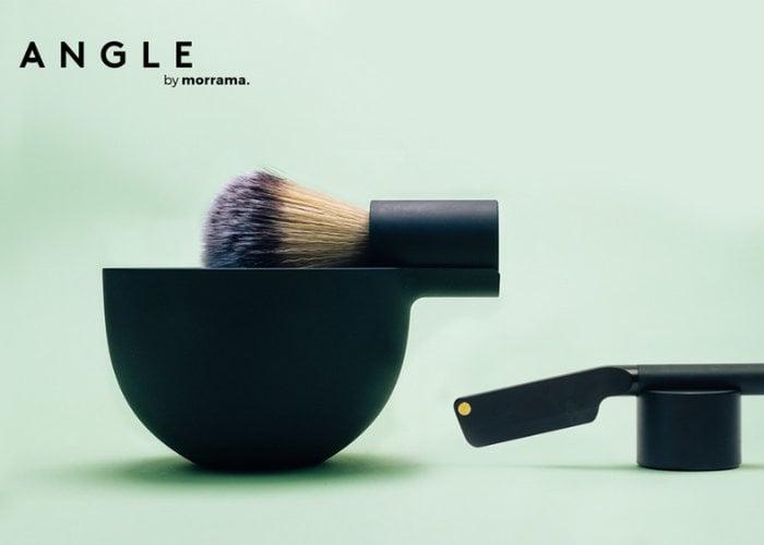 Angle minimalist shaving brush and bowl by Morrama