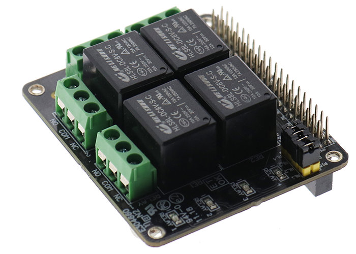 PiRelay Raspberry Pi relay shield can be controlled by your