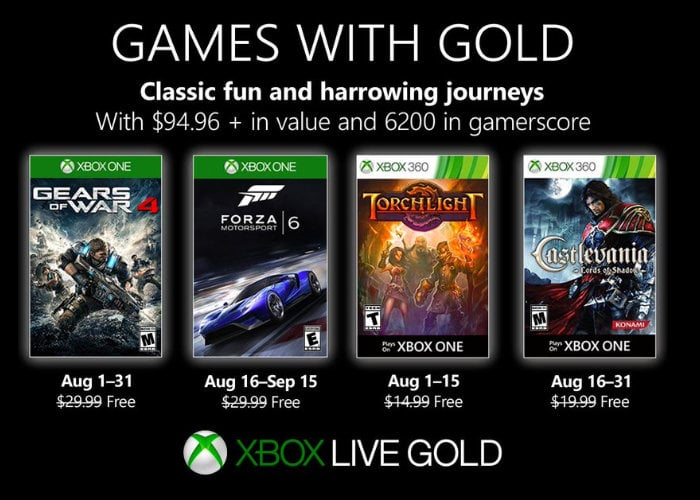 Free Xbox games with Gold August 2019