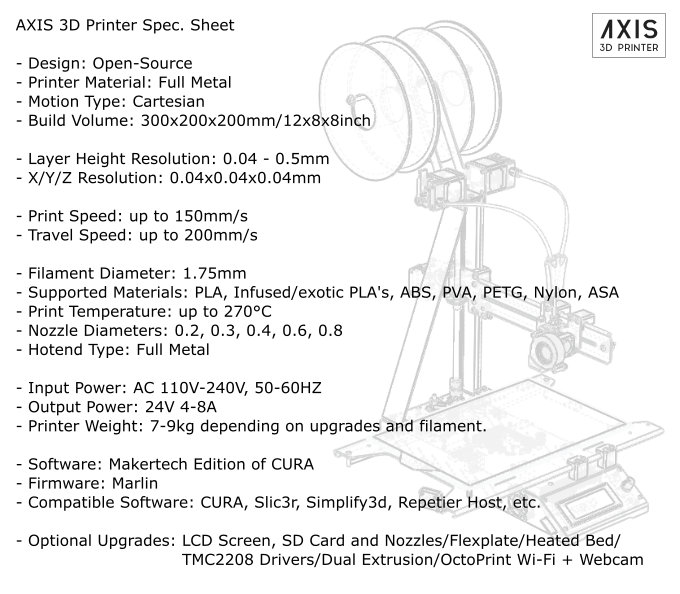 AXIS 3D Printer Specifications