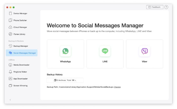 AnyTrans 8 Socail Messages Manager
