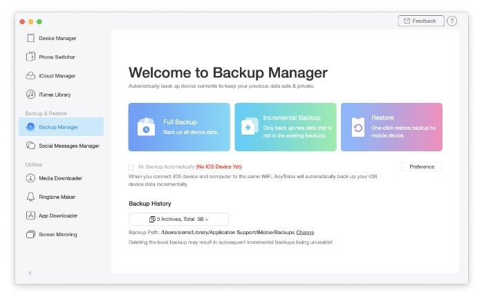AnyTrans 8 iPhone Backup Manager