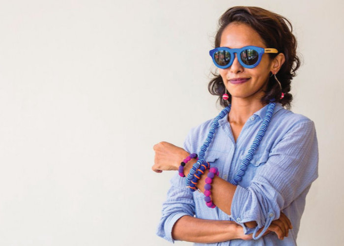 Sunglasses made from from upcycled flip flops