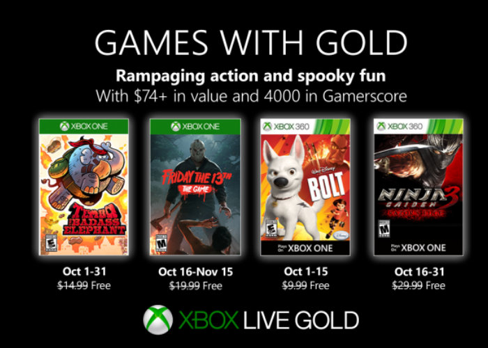 Xbox Live Gold games Oct 2019