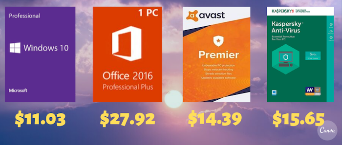 Windows 10 Pro for $11.03 and Office 2016 Pro Plus for $27.92