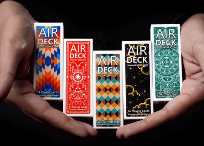Air Deck uniquely narrow travel playing cards