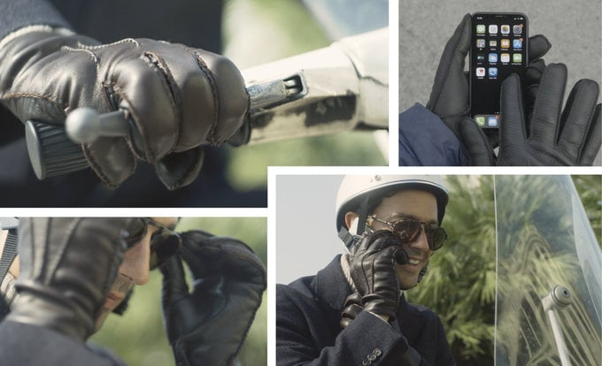 Touchscreen leather gloves