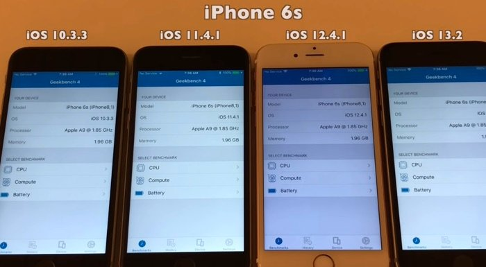 iOS 10.3.3 vs iOS 11.4.1 vs iOS 12.4.1 vs iOS 13.2