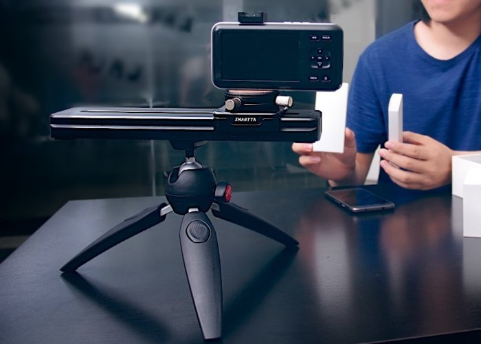 SliderMini is a portable, smartphone controlled camera slider