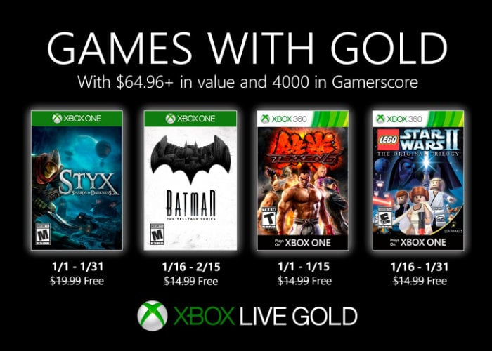 Free Xbox games with Gold for January 2020
