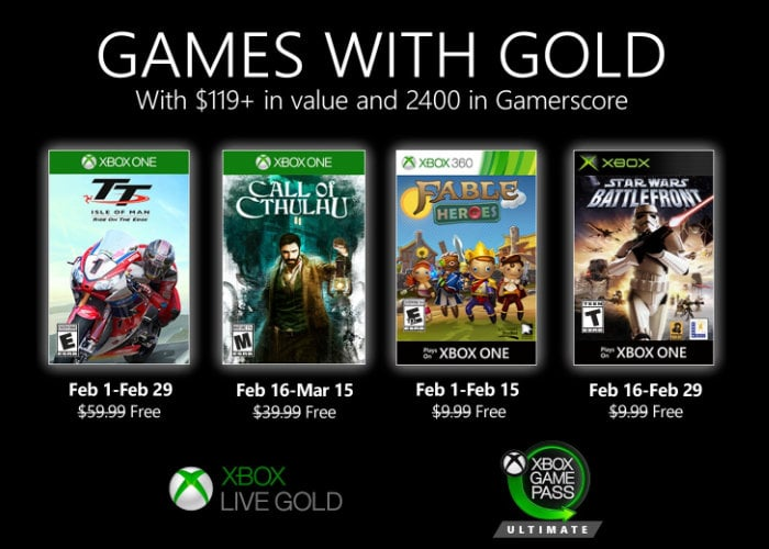 Free Xbox games with Gold for February 2020