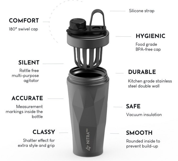 Stainless steel protein Shaker