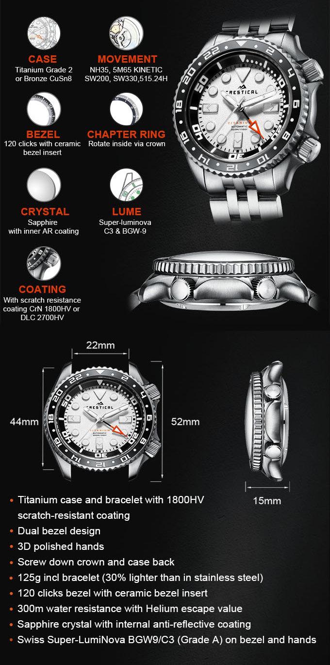 Titanium dive watch