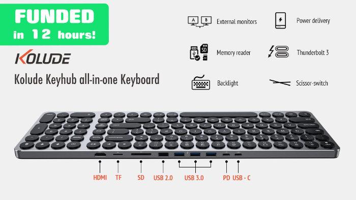 keyboard and USB-C hub