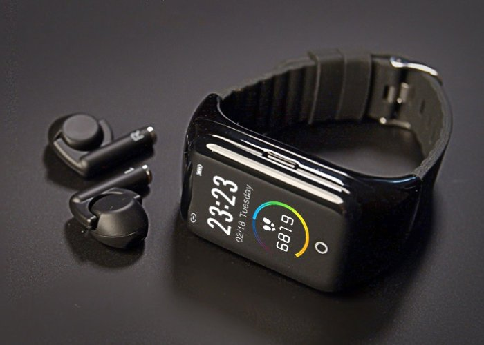 smartwatch and earbuds
