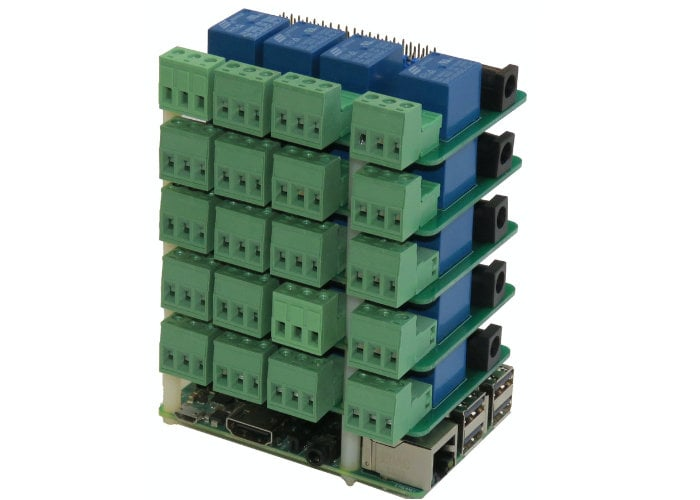 Raspberry Pi relay HAT stacks 8 high