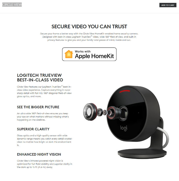 New Logitech Circle View camera