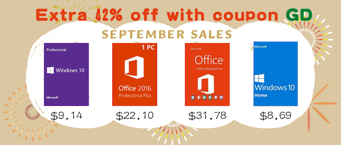 September Sales: Windows 10 Pro with $9.14 and Office 2016 Pro with $22.10 - Geeky Gadgets