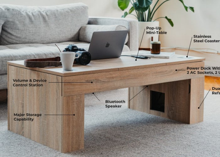 Coolest coffee table with storage, speakers and more