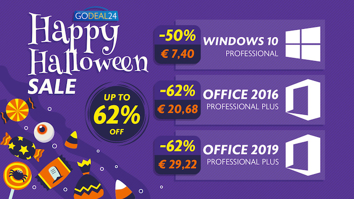 Godeal24.com Halloween Pre-Sale: Windows 10 Pro Only $6.2, Office 2016 $21.20 And more! - Geeky Gadgets