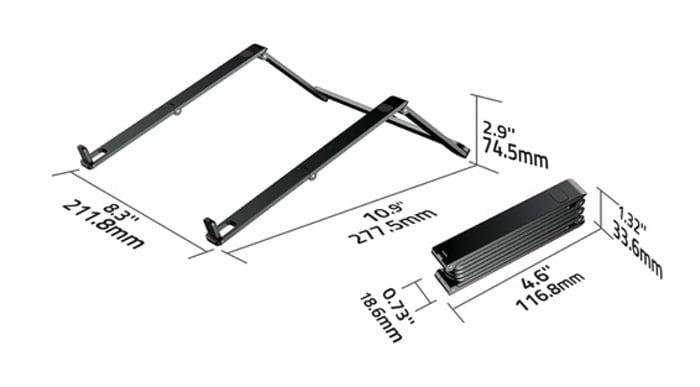 Mantiz laptop stand dimensions