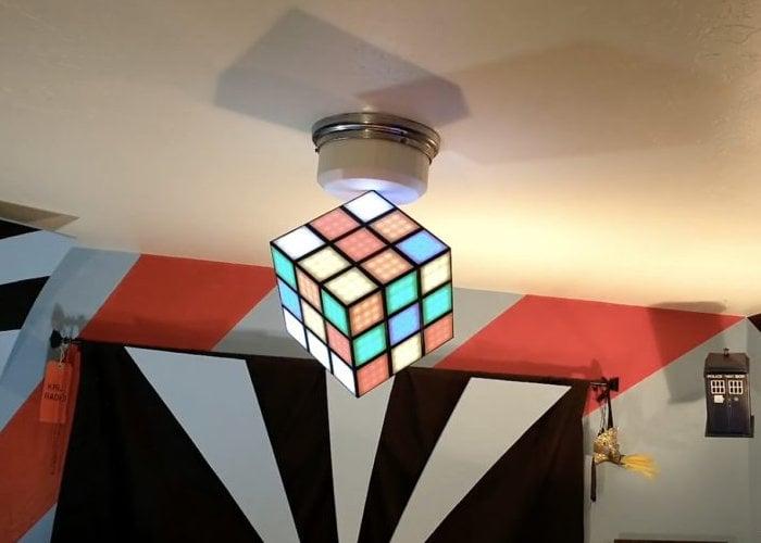 Arduino-controlled Rubik's cube chandelier