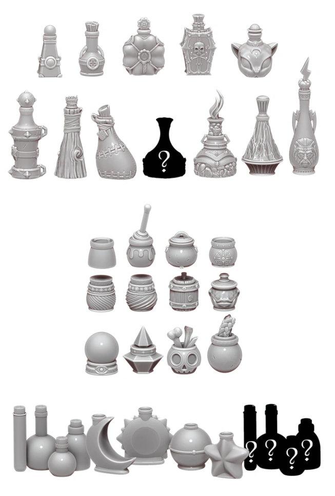 3D printed potion bottles
